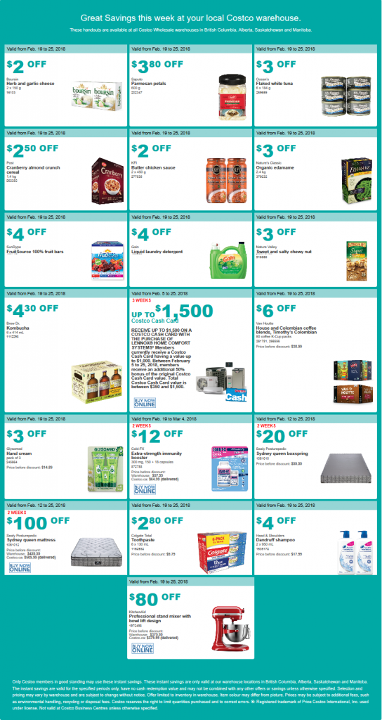 Costco West Sale Items for February 19-25, 2018 for BC
